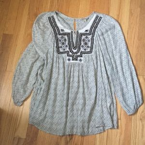 Lucky Brand Embellished Peasant Blouse